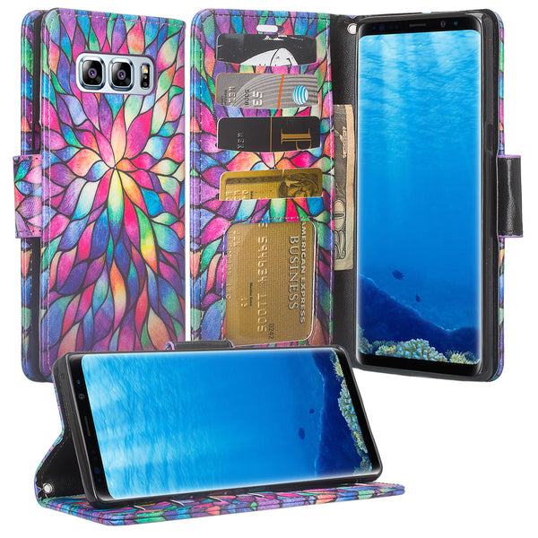 Samsung Galaxy Note 8 Case, Galaxy Note 8 Wallet Case, Slim Flip Folio [Kickstand] Pu Leather Wallet Case with ID & Card Slots & Pocket + Wrist Strap - Rainbow Flower