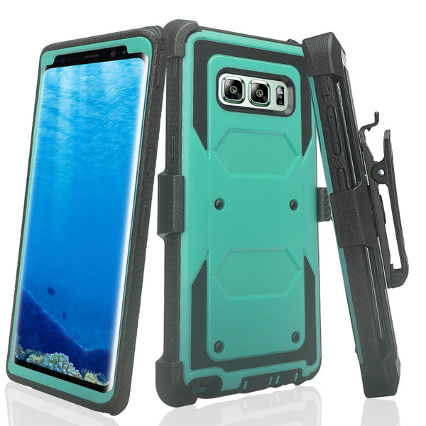 samsung galaxy note 8 heavy duty hybrid holster case - teal - www.coverlabusa.com