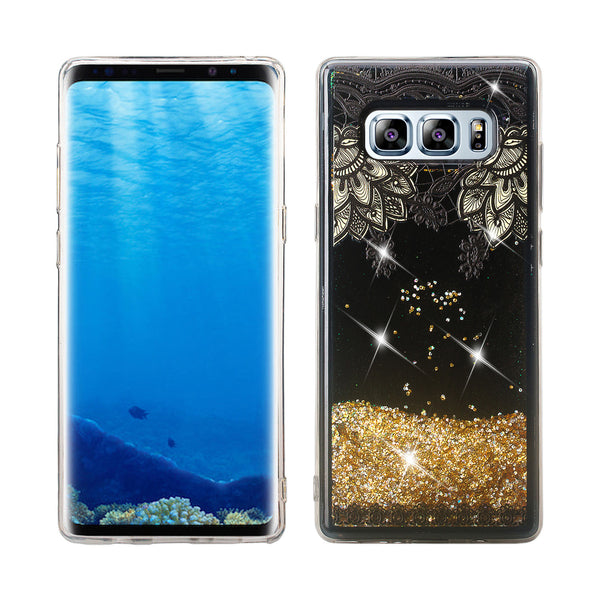 samsung galaxy note 8 liquid sparkle quicksand case - gold top flower - www.coverlabusa.com
