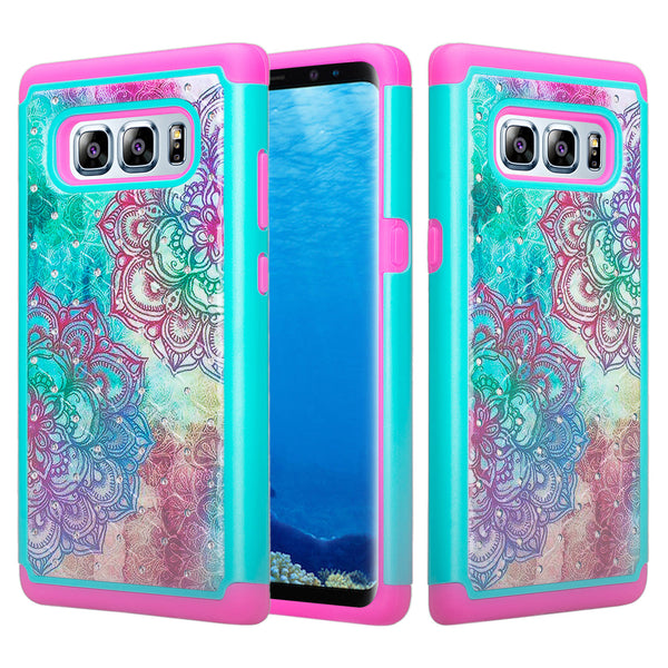 samsung galaxy note 8 case crystal rhinestone - teal flower - www.coverlabusa.com