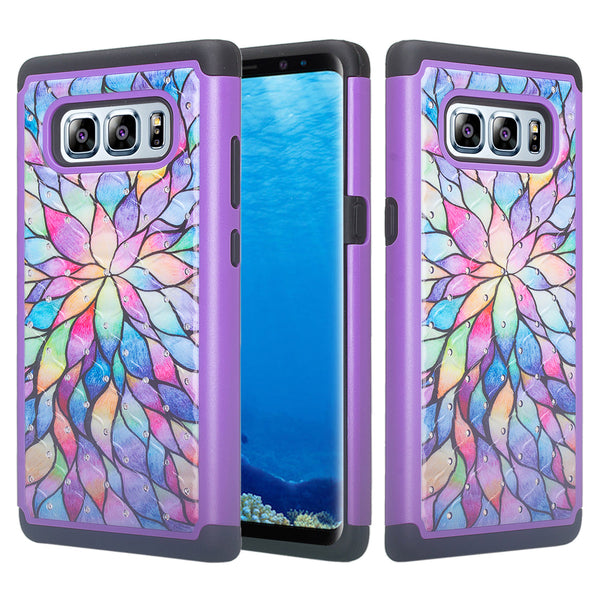 samsung galaxy note 8 case crystal rhinestone - rainbow flower - www.coverlabusa.com