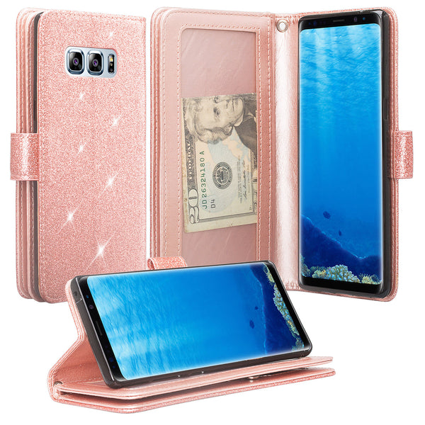 Samsung Galaxy Note 8 Glitter Wallet Case - Rose Gold - www.coverlabusa.com