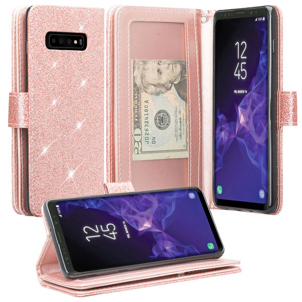 Samsung Galaxy S10 5G Glitter Wallet Case - Rose Gold - www.coverlabusa.com