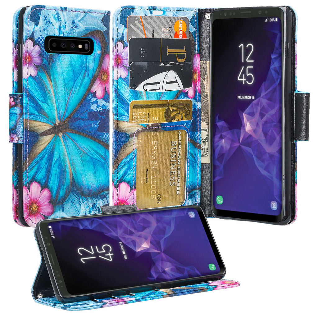 Samsung Galaxy S10 Wallet Case - blue butterfly - www.coverlabusa.com