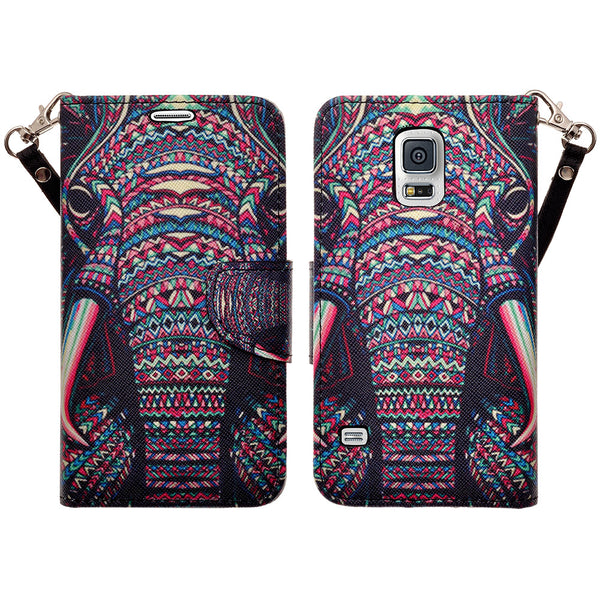 samsung galaxy S5 leather wallet case - tribal elephant - www.coverlabusa.com