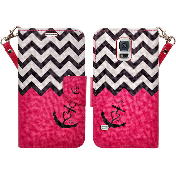 samsung galaxy S5 leather wallet case - hot pink anchor - www.coverlabusa.com