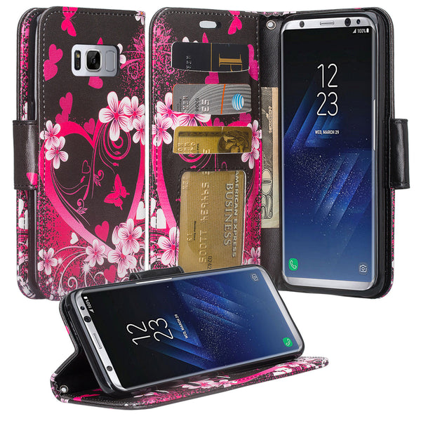 Samsung Galaxy S8 Wallet Case - heart butterflies - www.coverlabusa.com