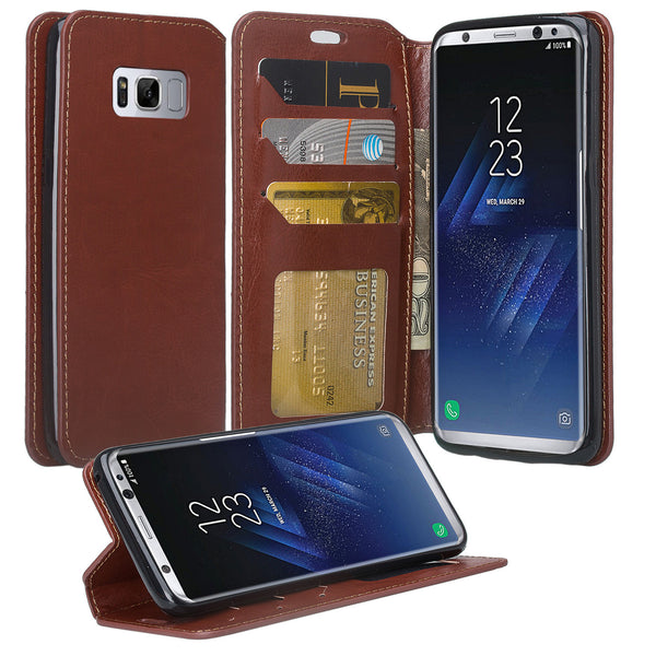 Samsung Galaxy S8 Wallet Case - brown - www.coverlabusa.com