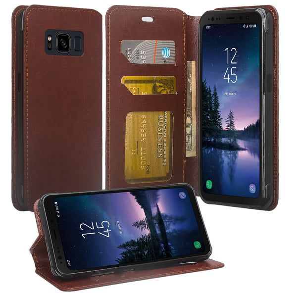 Samsung Galaxy S8 Active Wallet Case - brown - www.coverlabusa.com