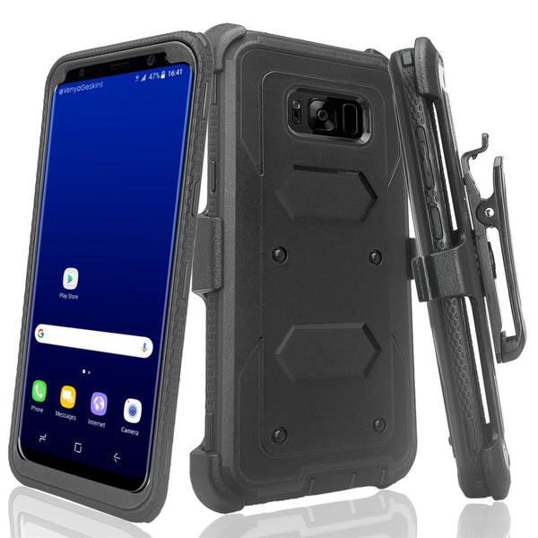 samsung galaxy s8 heavy duty hybrid holster case - black - www.coverlabusa.com