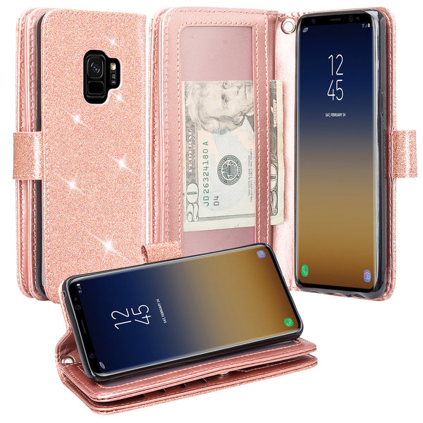 Samsung Galaxy S9 Glitter Wallet Case - Rose Gold - www.coverlabusa.com