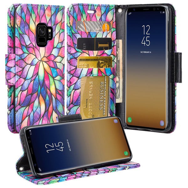 Samsung Galaxy S9 Wallet Case - rainbow flower - www.coverlabusa.com