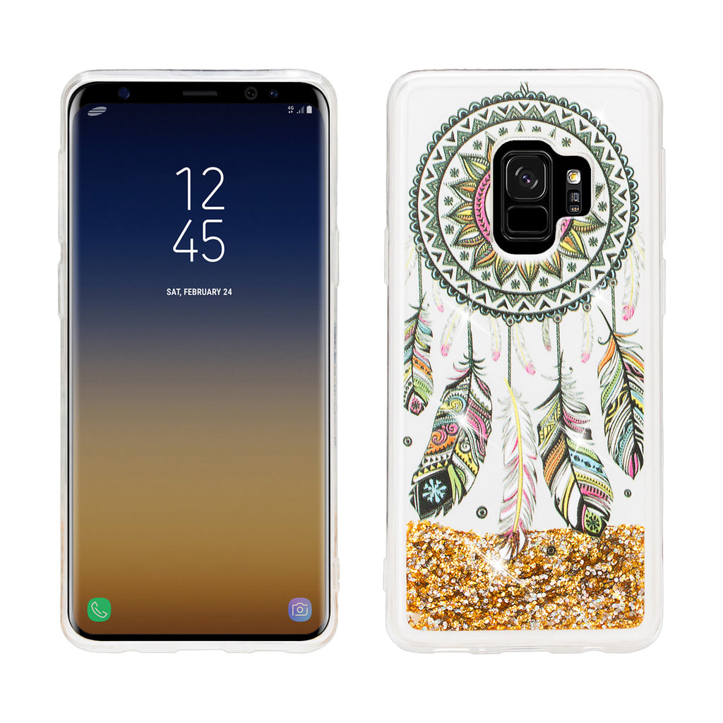 finest selection 8b949 88230 Galaxy S9 Plus Case, Samsung Galaxy S9 Plus Luxury Bling Liquid Glitter  Case, Sparkle Quicksand Case Cover -Dream Catcher