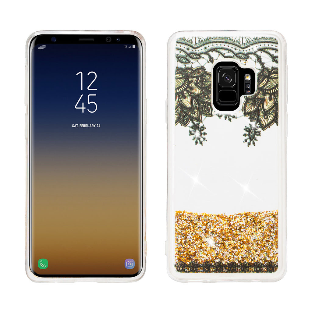 new style 43e60 14a36 Galaxy S9 Plus Case, Samsung Galaxy S9 Plus Luxury Bling Liquid Glitter  Case, Sparkle Quicksand Case Cover - Gold Top Flowers