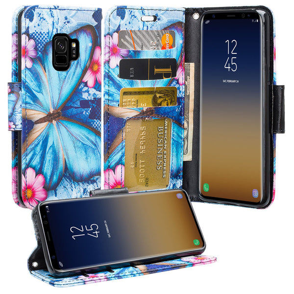 Samsung Galaxy S9 Wallet Case - blue butterfly - www.coverlabusa.com