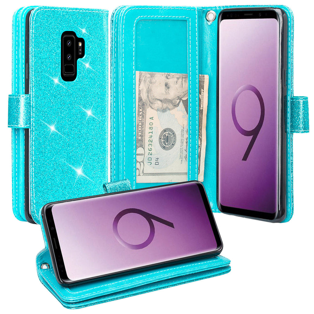 fashion5 PU Leather Wallet Flip Case for Samsung Galaxy S9 Plus Positive Cover Compatible with Samsung Galaxy S9 Plus