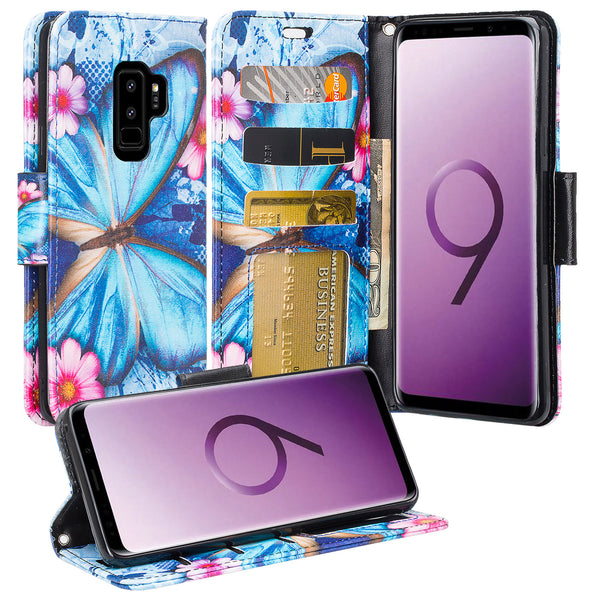 Samsung Galaxy S9 Plus Wallet Case - blue butterfly - www.coverlabusa.com