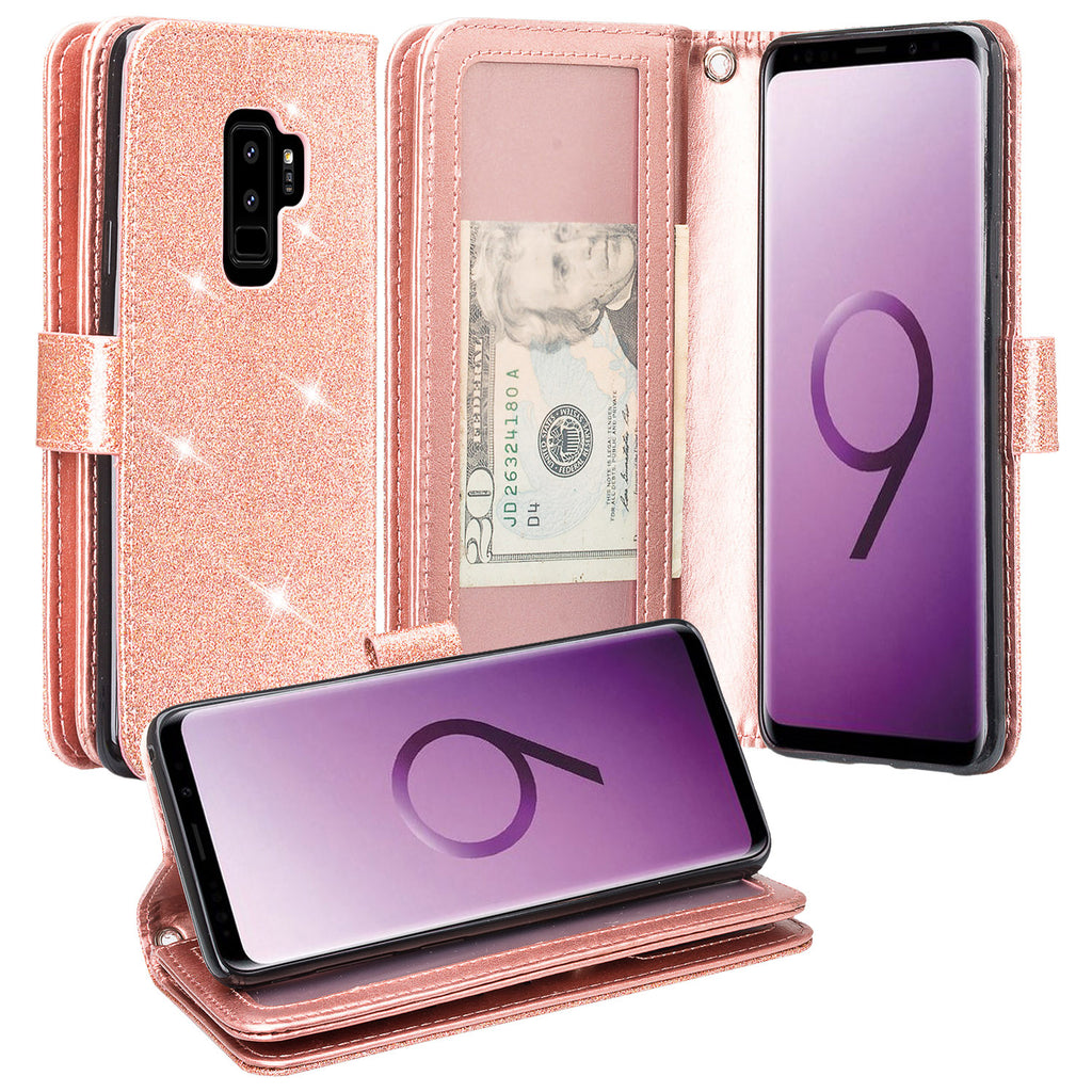 online store ba83a 06f19 Galaxy S9 Plus Case, Samsung Galaxy S9 Plus Case, Glitter Faux Leather Flip  Credit Card Holder Wrist Strap Shockproof Protective Wallet Case Clutch ...