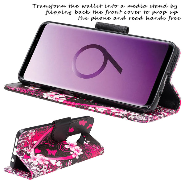 Samsung Galaxy S9 Wallet Case - heart butterflies - www.coverlabusa.com