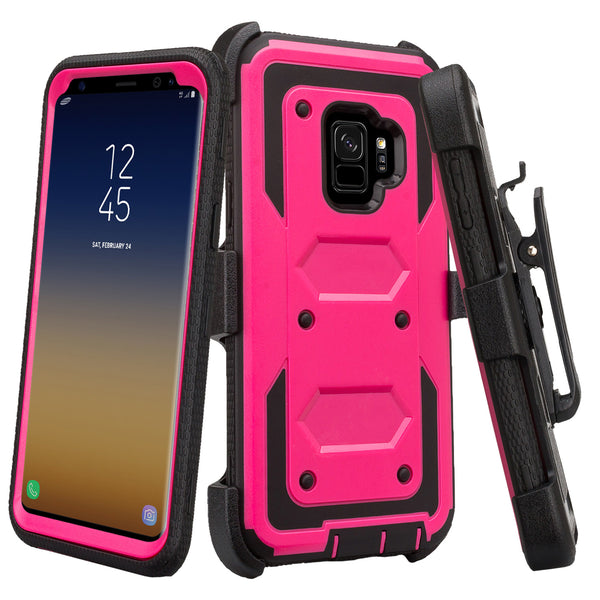 samsung galaxy s9 heavy duty hybrid holster case - hot pink - www.coverlabusa.com
