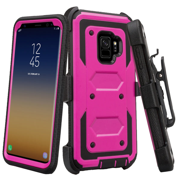 samsung galaxy s9 heavy duty hybrid holster case - purple - www.coverlabusa.com