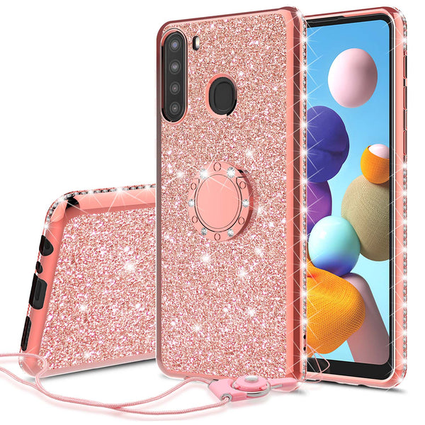 samsung galaxy a21 glitter bling fashion case - rose gold - www.coverlabusa.com