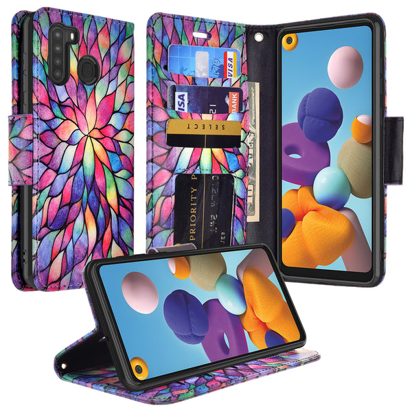 samsung galaxy a21 wallet case - rainbow flower - www.coverlabusa.com