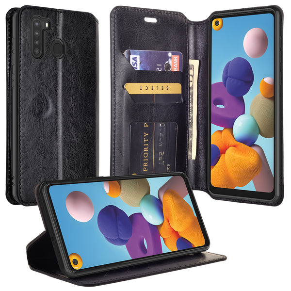 samsung galaxy a21 wallet case - black - www.coverlabusa.com