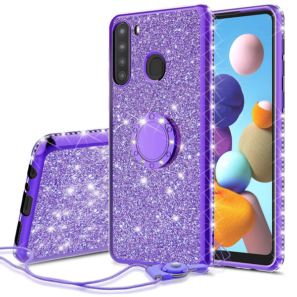 samsung galaxy a21 glitter bling fashion case - purple - www.coverlabusa.com