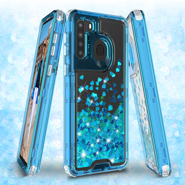 hard clear glitter phone case for samsung galaxy a21- teal - www.coverlabusa.com