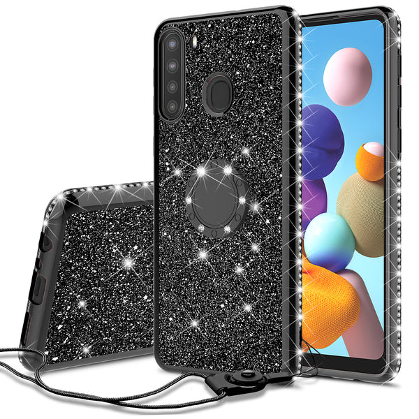 samsung galaxy a21 glitter bling fashion case - black - www.coverlabusa.com