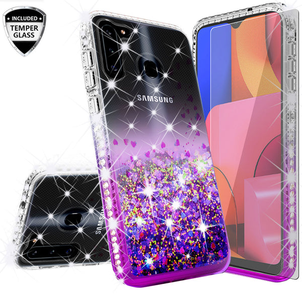 clear liquid phone case for samsung galaxy a21 - purple - www.coverlabusa.com
