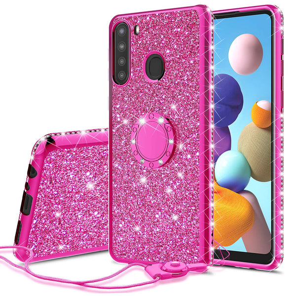 samsung galaxy a21 glitter bling fashion case - hot pink - www.coverlabusa.com