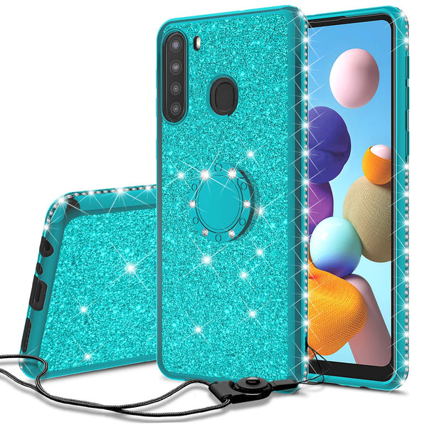samsung galaxy a21 glitter bling fashion case - teal - www.coverlabusa.com