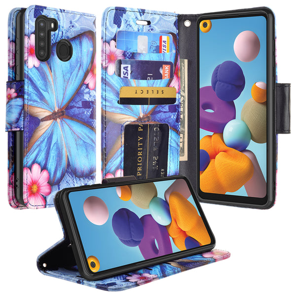 samsung galaxy a21 wallet case - blue butterfly - www.coverlabusa.com