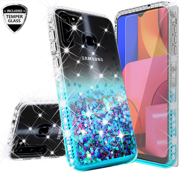 clear liquid phone case for samsung galaxy a21 - teal - www.coverlabusa.com