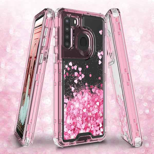 hard clear glitter phone case for samsung galaxy a21 - pink - www.coverlabusa.com