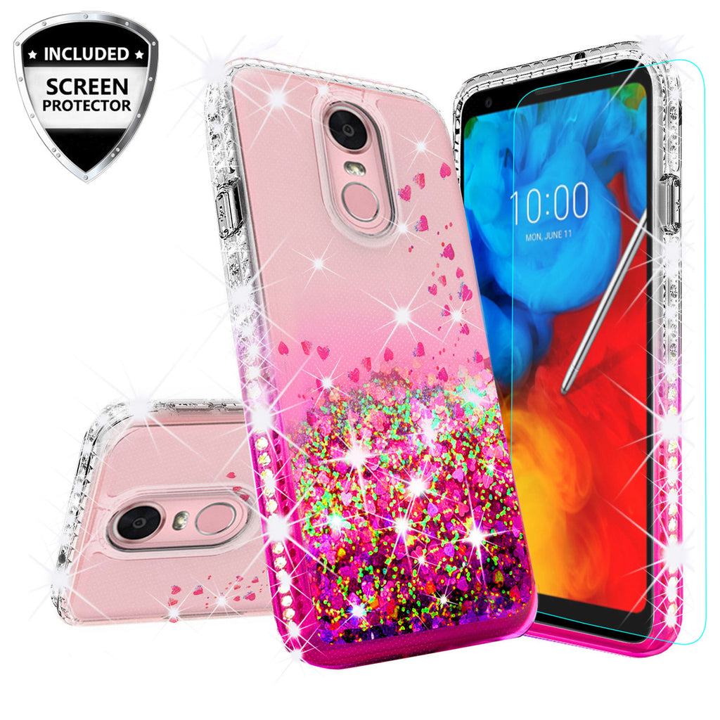 brand new 248d5 0e5d4 LG Stylo 4 Case, Stylo 4 Plus, Q Stylus Case Liquid Glitter Phone Case  Waterfall Floating Quicksand Bling Sparkle Cute Protective Girls Women  Cover ...