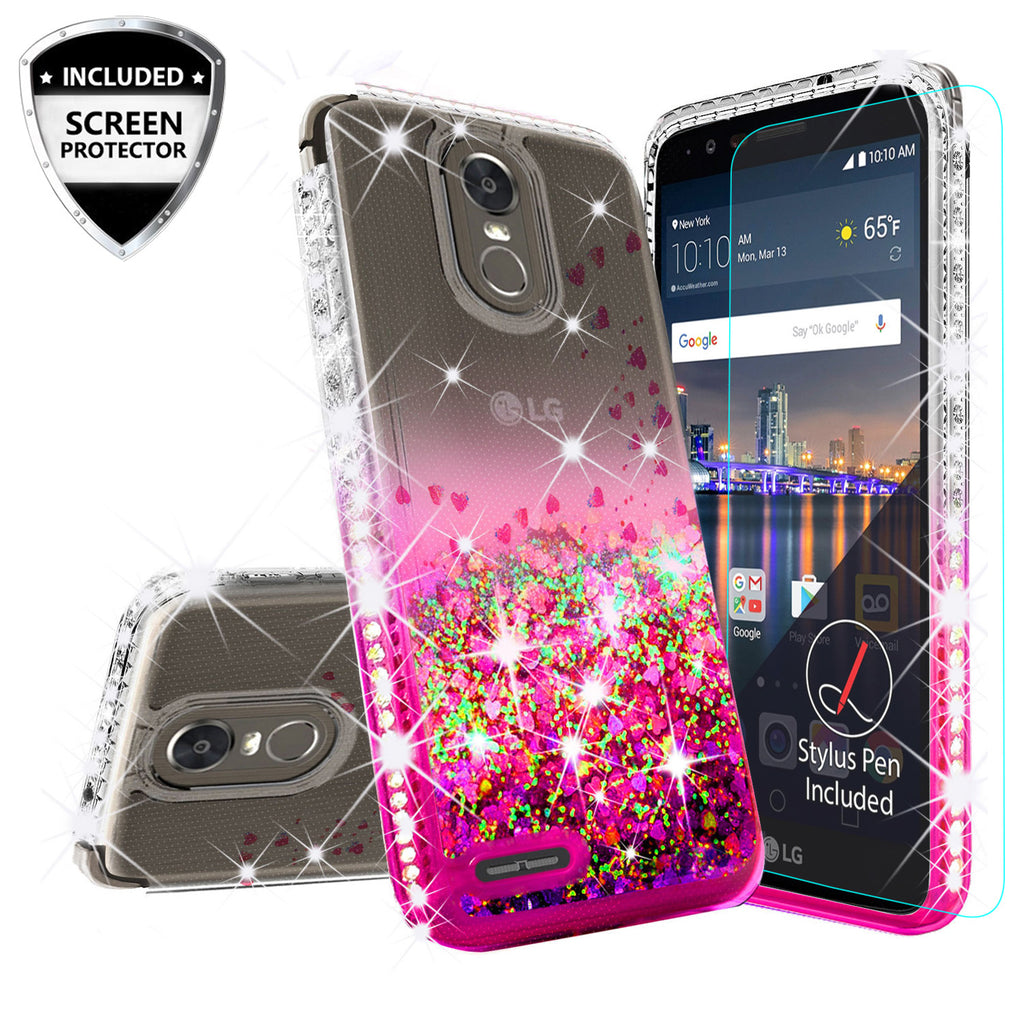 big sale 6a2fd e9125 LG Stylo 3 Case, LG Stylus 3 Case Liquid Glitter Phone Case Waterfall  Floating Quicksand Bling Sparkle Cute Protective Girls Women Cover for  Stylo ...