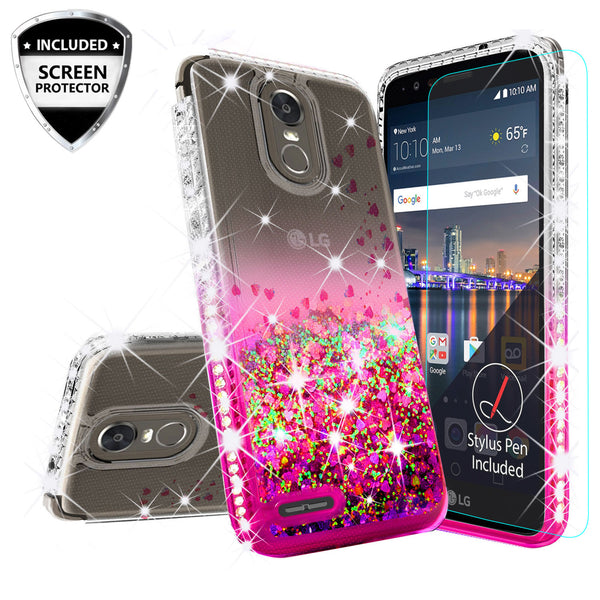 clear liquid phone case for lg stylus 3 - hot pink - www.coverlabusa.com