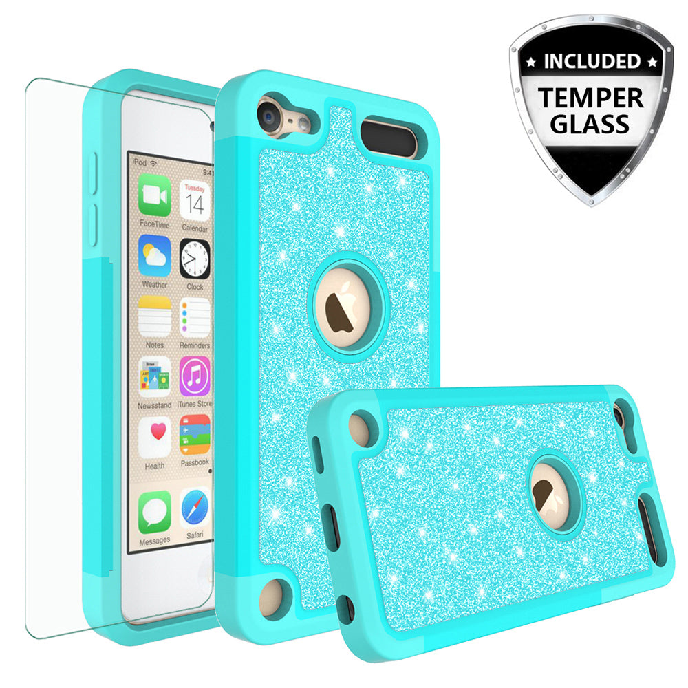 buy popular 2f2b5 b5ec3 Apple iPod Touch 5 Case, Touch 6 Case,Glitter Bling Heavy Duty Hybrid Case  with [HD Screen Protector] Dual Layer Protective Phone Case Cover W/Temper  ...