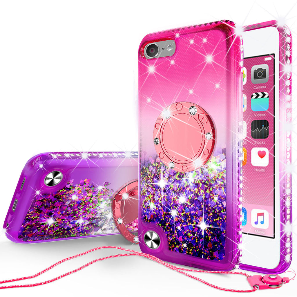 brand new 7bbab c40c5 Glitter Phone Case Kickstand Compatible for Apple iPod Touch 6, iPod Touch  5 Case,Ring Stand Liquid Floating Quicksand Bling Sparkle Protective Girls  ...