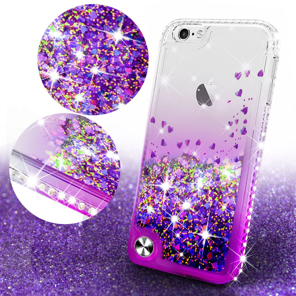 new arrival 6d518 c75df Apple iPod Touch 6, iPod Touch 5 Case Liquid Glitter Phone Case Waterfall  Floating Quicksand Bling Sparkle Cute Protective Girls Women Cover for iPod  ...