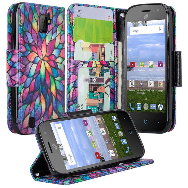 ZTE Citrine LTE Wallet Case Rainbow Flower, www.coverlabusa.com