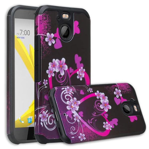 HTC Bolt Case, Hybrid Protective Cover  HOT PINK HEARTS WWW.COVERLABUSA.COM
