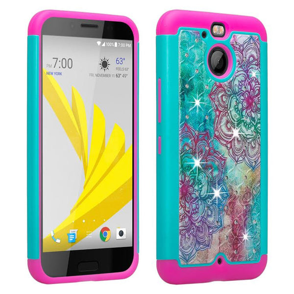 HTC Bolt Case, Diamond Hybrid Protective Cover - Teal Flower www.coverlabusa.com