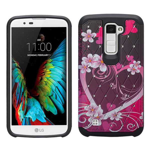 LG K10 / LG Premier LTE Case, Diamond Protective Hybrid cover, HOT PINK HEARTS www.coverlabusa.com