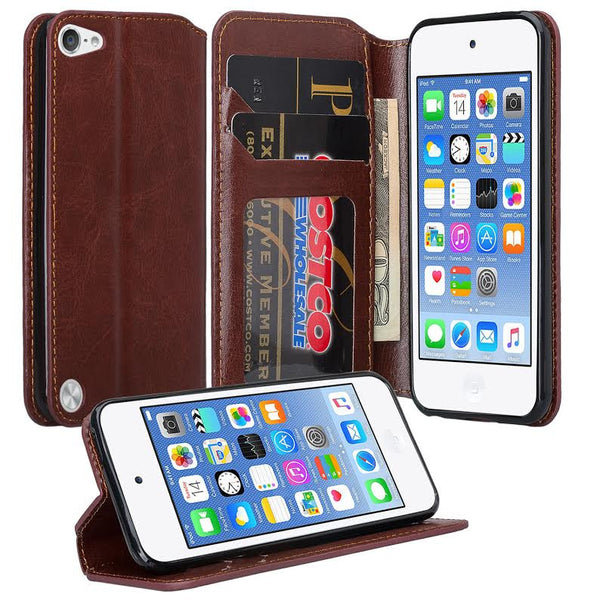 iPod Touch 5 / Ipod Touch 6 Wallet Case, Slim Strap Flip Folio [Kickstand] Pu Leather Wallet Case with ID & Credit Card Slots - Brown