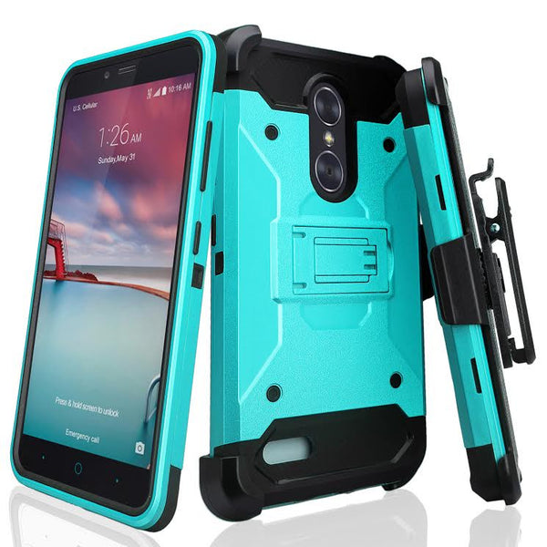 ZTE Z Max Pro, ZTE Grand X Max 2, ZTE Imperial Max / ZTE Max Duo LTE Hybrid Belt Clip Holster - Teal, www.coverlabsa.com