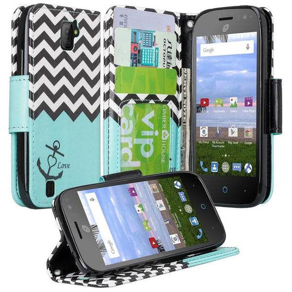 ZTE Citrine LTE Wallet Case Teal Chevron Anchor, www.coverlabusa.com